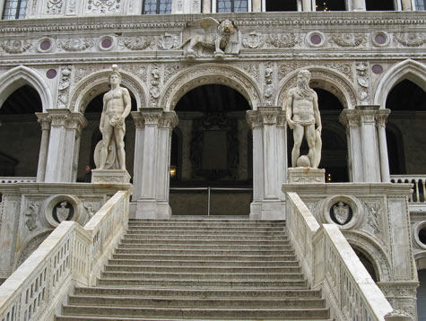 Staircase at Doge's Palace in Venice Italy